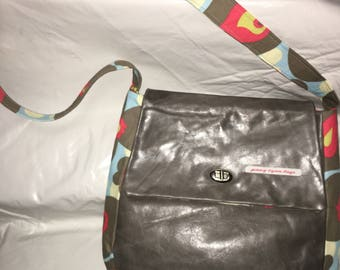 Gray leather handmade purse