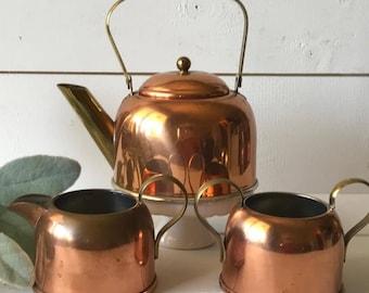 Three piece copper tea set