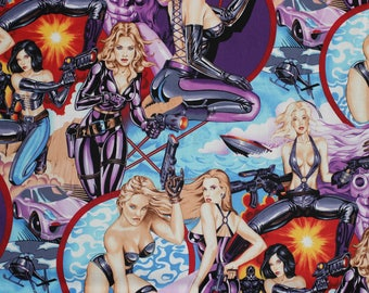 Alexander Henry All Fired Up Space Pin Up Cotton Fabric