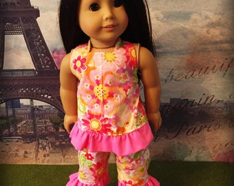 "Pink Floral Ruffled Halter Top and Capris for 18"" dolls.  Fits American Girl My Life or Our Generation Dolls Clothes"