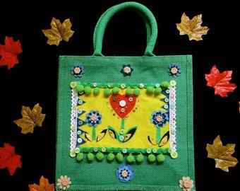 Unusual christmas gifts,boho bag,cute childrens bag,heart bag,gift for her,sandwich bag,shopping bag,unique bag,gift for a girl,art bag,xmas