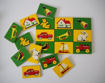 Vintage 1960s childrens picture lotto snap matching game 1960s