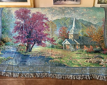 Hometown Chapel Tapestry Blanket by Thomas Kinkade Free Shipping