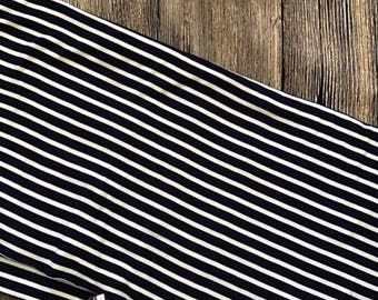 Narrow Navy and Ivory Stripes