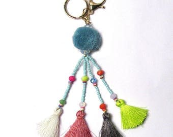 Eye Catching Blue Tassel Pom Pom Bag Charm Key Chain