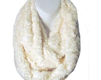 Cream Faux Fur Double Loop Infinity Scarf