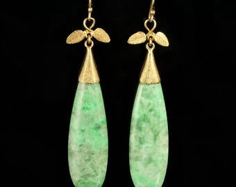 Victorian Long Jade and 18ct Yellow Gold Earrings Circa 1880