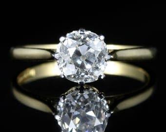 Antique Victorian Diamond Ring 1.35ct Diamond Vvs1 H Colour