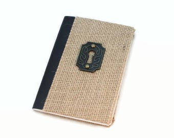 Small Journal, Pocket Journal, Mini Journal, Burlap, Rustic, Dream, Travel, Meditation, Prayer, Exercise, Writing journal, Lined, Food