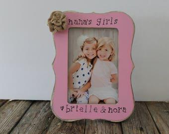 Nana's Girls Picture Frame, Personalized Nana Frame, Grandma, Gigi, Memaw Gift, Mother's Day Gift, 4x6 Frame