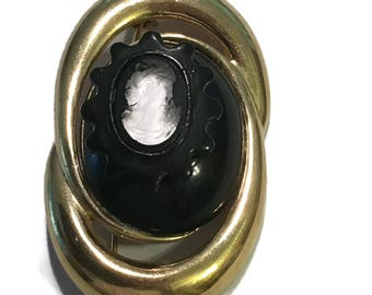 Monet  Brooch, Vintage Gold Tone  Cameo Pin, Signed, 1960s-1970s, Black