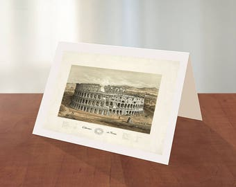Greeting card of Coliseum at Rome, G. Klucken, 1872.  Reproduction map greeting card.