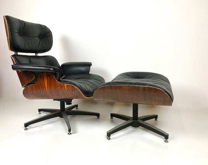 Mid Century Modern EAMES STYLE ROSEWOOD Lounger with Ottoman