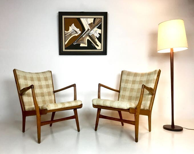 Pair of Hans Wegner AP-16 accent chairs original excellent fabric