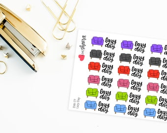Lazy Day | day off, me time, Relax, stay in bed, adulting, resting stickers, couch potato - Hand Drawn, Hand Lettered Planner Stickers