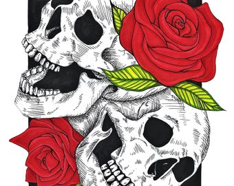 Skulls and Roses 6x4 Matte Photo Print