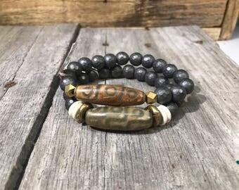 Boho Gray & Tan bracelets