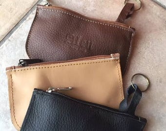Handcrafted key bag in genuine Nappa leather various colors handmade, with inner ring and zipper closure