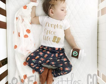 Fall Baby Outfit, Pumpkin Spice Life, Baby Leggings, Baby Girl Onesie, Fall