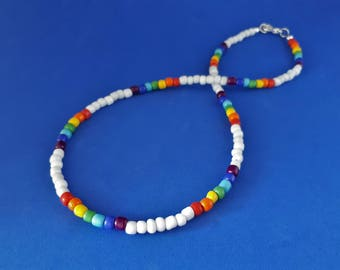 NEW! True Colors: Chakra Seed Bead Rainbow Necklace