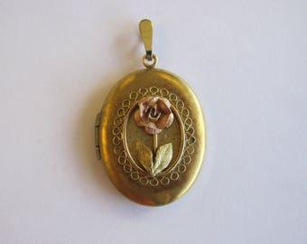 Rose Locket Pendant- Gold Filled -Photos locket Pendant
