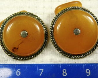 Old vintage retro antique Pressed Baltic Amber stone cuff-links authentic toffee honey color men's jewelry FREE SHIPPING 1510