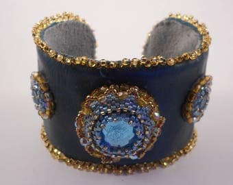 Turquoise Leather Bead Embroidered Cuff
