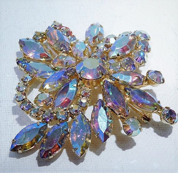 Aurora Borealis Rhinestone Brooch / Mid Century Brooch / 1950s 50s Brooch / Wedding / Bride Bridal Jewelry / Hollywood Fashion