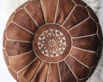 Handmade moroccan leather pouf!