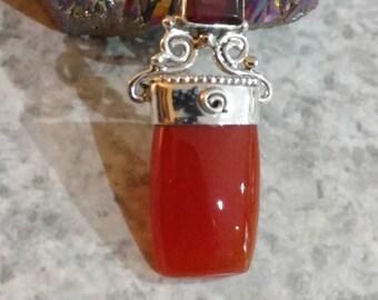 Carnelian and Garnet Pendant Necklace