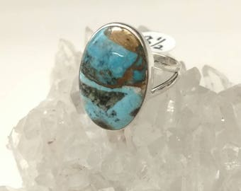 Copper Blue Turquoise Ring Size 8 1/2