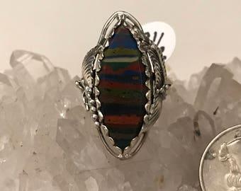 Rainbow Calsilica Ring Size 8 1/2
