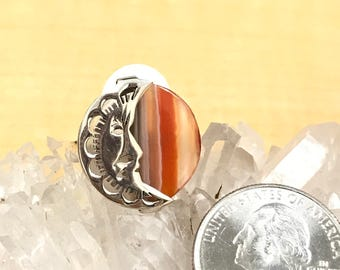 Agate Moon Ring Size 9