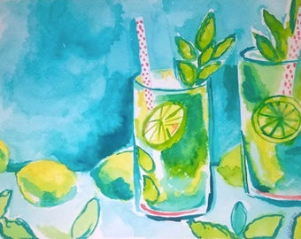Lilly Pulitzer Inspired Original Mojito Watercolor