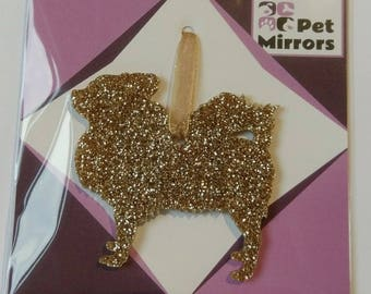 Glitter acrylic Chihuahua Style 2 Christmas decoration - 9 colour choices