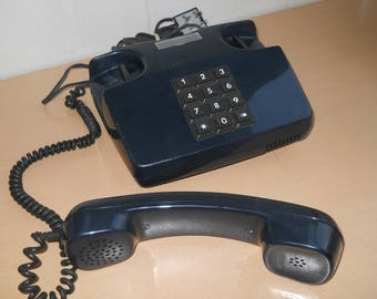 Retro Blue Phone. USSR Phone VEF. Vintage Soviet Phone with Button Dial. Working Place Phone. Desk Telephone. Electronics 90s