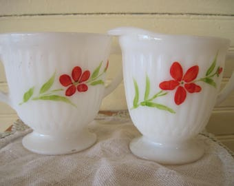 MacBeth-Evans Petalware Hand-painted Monax Sugar and Creamer- Item #1600