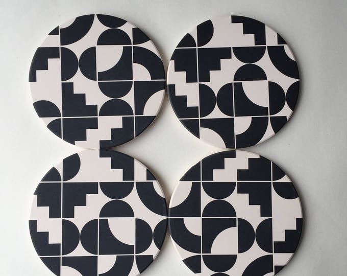 Geometric coasters, stone absorbent coasters, black and white coasters, modern coasters, memphis, beer gift, for him, mid century modern