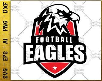 Football Badge Emblem Logo Shield SVG Eagles Football svg School sports emblem cut files cricut Silhouette Digital vector SVG png eps dxf