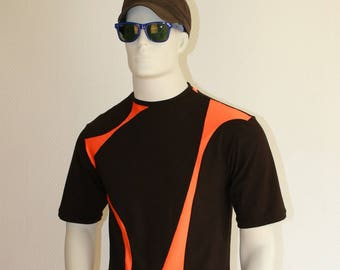 Neon orange and brown short sleeve shirt