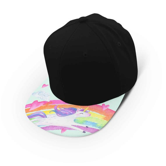 Unicorn watercolor rainbow snapback cap - hat - baseball cap 5P008