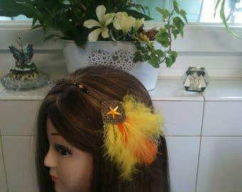 Headband shabby bronze,orange and yellow feather,orange star/serre tete en chaine,plume jaune, etoile strass