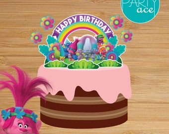 Trolls Cake Topper Forest Village Birthday Party Decoration Show Your True Colors