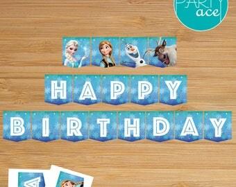"Frozen Banner Printable ""Magic Winter"" Birthday Party Decoration Elsa Anna Olaf Sven"