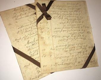 Vintage Ephemera 1827 | Ledger Paper Pages |  Ephemera |  Handwritten  Entries |