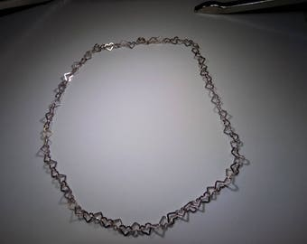 Beautiful sterling silver heart necklace 17 inches long