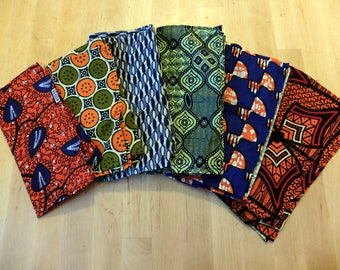 Set of 7 cloth wax - patterns cotton handkerchiefs