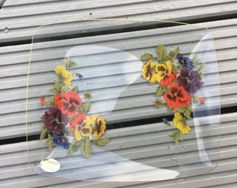 Clear Floral Pansy Rectangle Plate