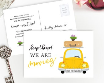 PRINTED Moving announcements | We're moving cards | 4X6 moving cards with car | Change of address cards cheap