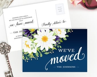 We've moved postcards PRINTED | Change of address cards cheap | Moving announcement with daisies | 4X6 moving cards